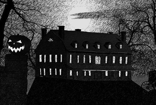 339948-Black-And-White-Haunted-House