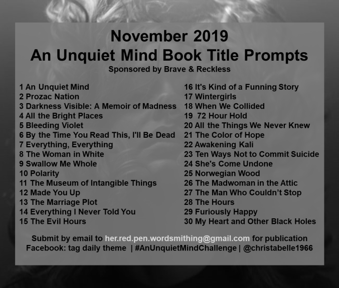 Unquiet Mind Monthly Prompts WordPress.Facebook